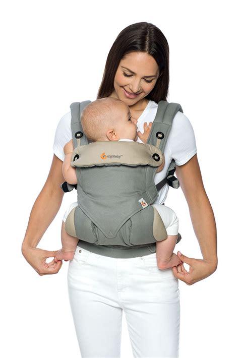 ergobaby neugeborenen einsatz bis wann 360 babytrage geburt an paket grau mit neugeborenen
