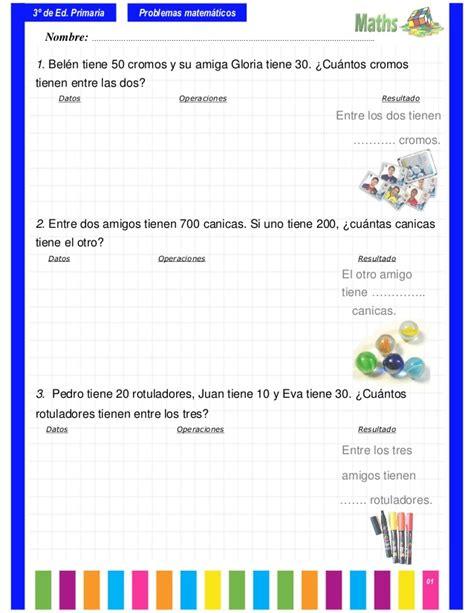problemas para 2 de primaria slideshare newhairstylesformen2014com problemas matem 225 ticos 3 186