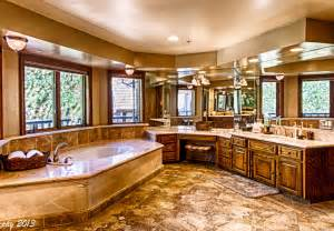 Master bath with views edgewood mansion at big bear