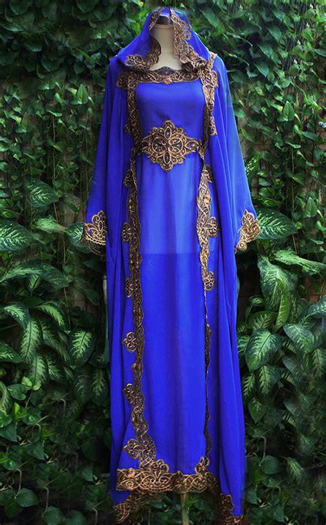 Real Pict Import Kaftan Batwing Dress blue moroccan caftan hoodie sheer chiffon fancy gold embroidery abaya dubai maxi dress