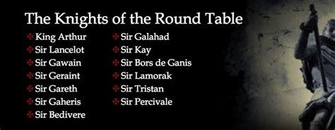 Knights Of The Table List knights of the table names of knights princesses knights tables