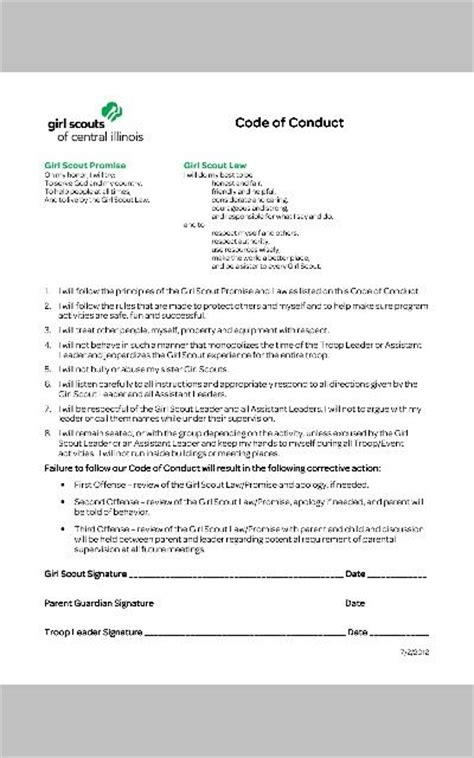Girl Scouts Code Of Conduct Contract Signed Each Year Could Also Be Incorporated Into Code Of Conduct Contract Template