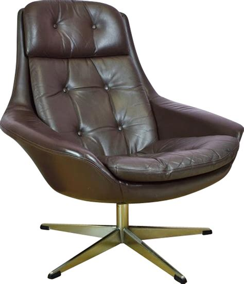 Brown Arm Chair Design Ideas Vintage H W Klein For Bramin Brown Leather Swivel Lounge Arm Chair 1960s Design Market