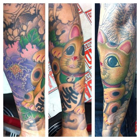 bad influence tattoo sleeve lucky cat in progress yelp