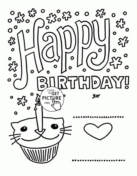 happy birthday cat coloring page 17 best images about birthday coloring pages on pinterest