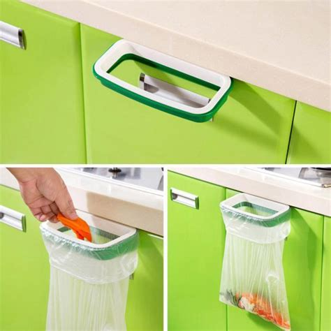 Hanging Over Kitchen Cabinet Door Trash Rack Attach Holder Cabinet Door Trash Bag Holder