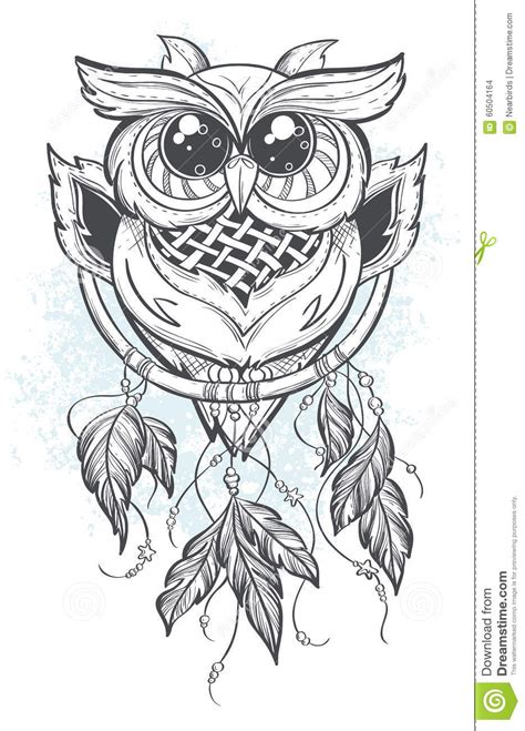 dream catcher tattoo vector dreamcatcher vector illustration with owl feathers stock