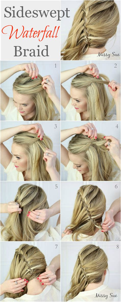 hairstyles how to do a waterfall braid 11 sideswept waterfall braid