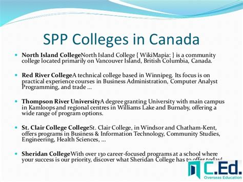 Spp College List Canada want to study in canada