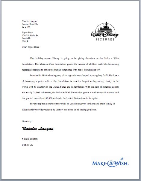 where to put the address on a letter natalie langan charity letter