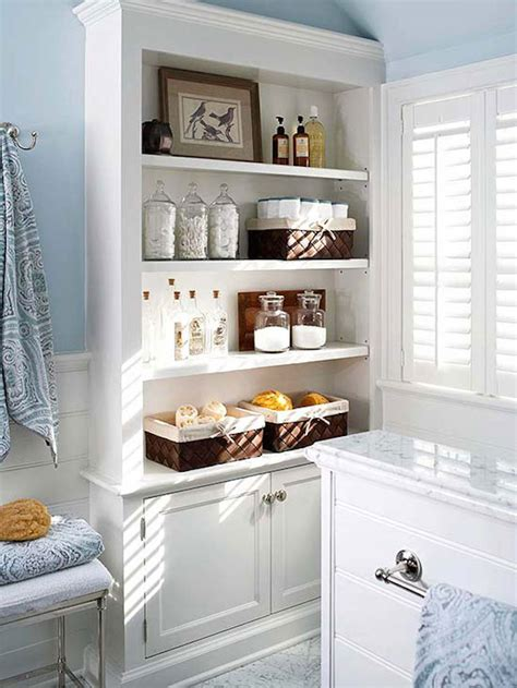 15 Exquisite Bathrooms That Make Use Of Open Storage Built In Bathroom Shelves