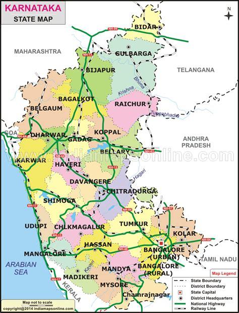 Karnataka District Map Outline by Karnataka Map Karnataka State Map