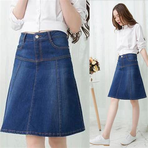 womens knee length denim skirt redskirtz