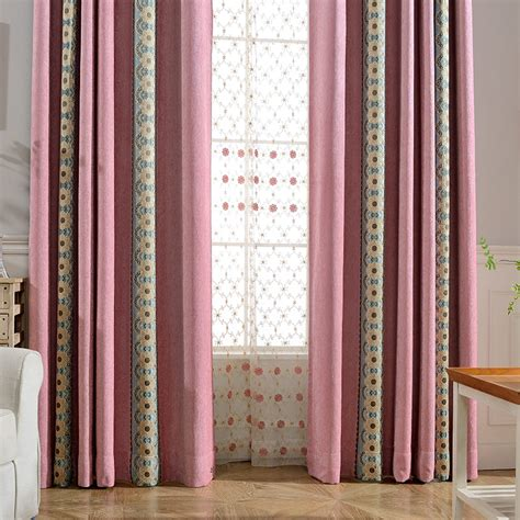red and white curtains for bedroom simple chenille red white fresh pink floral chenille embroidery striped country