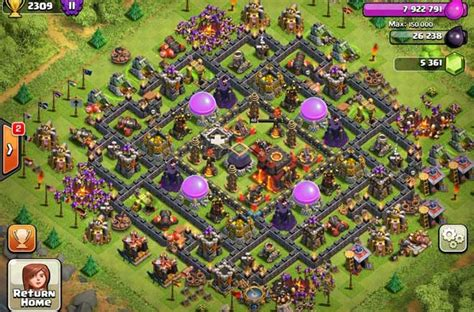 coc lvl 10 th layout clash of clans town hall level 10 defense base design
