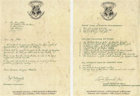 Transmittal Letter To Coa D Radcliffe Quot Harry Quot Hogwarts Acceptance Letter From Harry