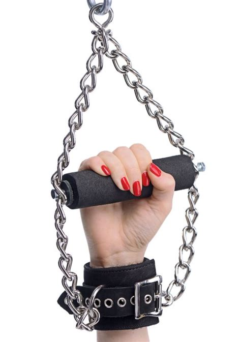 strict leather fur lined nubuck leather suspension cuffs  grip ae