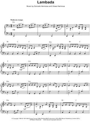 lambada testo kaoma quot lambada quot sheet piano print
