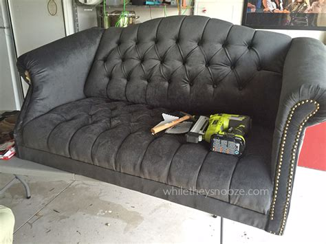 how to reupholster a tufted sofa while they snooze how to reupholster a tufted couch