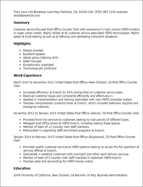 Post Resume For professional post office counter clerk templates to