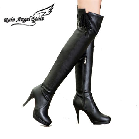 popular thigh high white leather boots buy cheap thigh