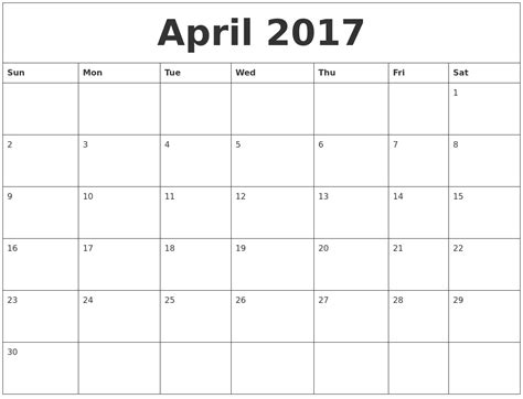printable calendar pages 2017 april 2017 calendar pages
