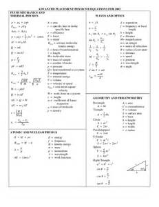 Physics Reference Table Physics Formula List 3