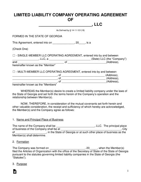 Free Georgia Llc Operating Agreement Forms Pdf Word Eforms Free Fillable Forms Articles Of Organization Llc Template