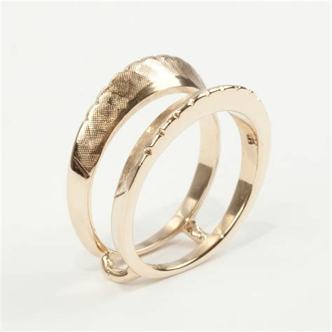 unique 14k yellow gold etched wedding ring jacket