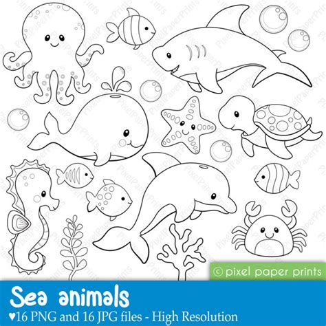 Templates For Under The Sea Creatures | sea animals digital sts clipart