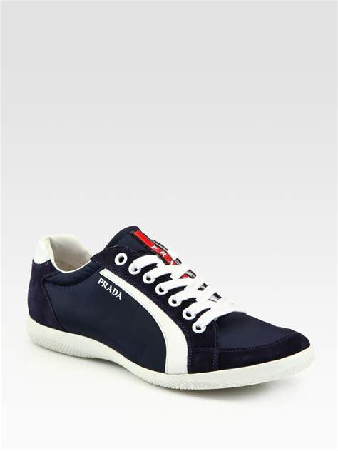 prada sneakers blue prada and suede sneakers in blue for lyst