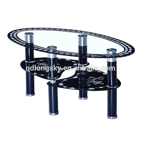 Glass Table Ls Ls 1107 Oval Shape Special Acrylic Legs Glass Coffee Table With Butterfly Design Printing View