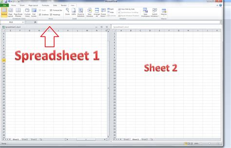 workbook template how do i view two excel spreadsheets at a time