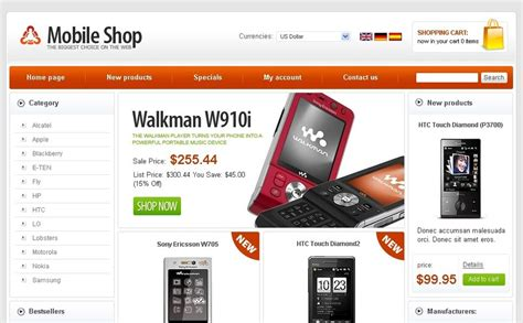 mobile store oscommerce template 24920