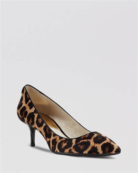 animal print shoes michael michael kors pumps mk flex leopard print kitten