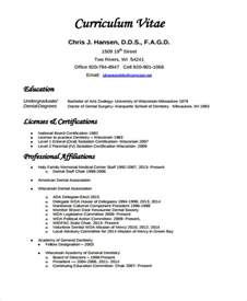 Curriculum Vitae Resume Format by 8 Dentist Curriculum Vitae Free Sle Exle Format Free Premium Templates