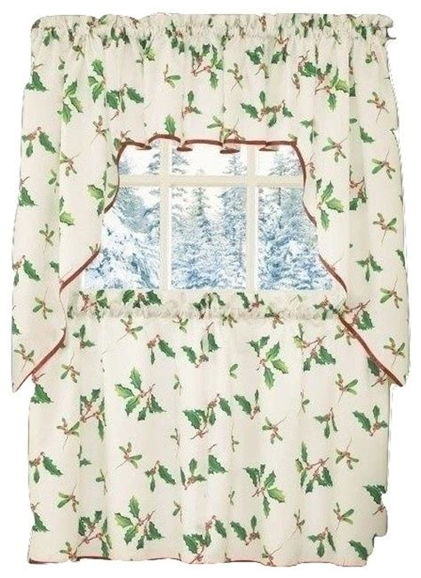 kitchen christmas curtains deck the halls christmas kitchen curtain swag