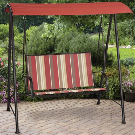 mainstays outdoor swing mainstays stripe sling outdoor swing red walmart com