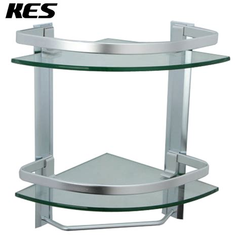 Corner Glass Shelves For Bathroom Kes Bathroom 2 Tier Glass Shelf With Rail Aluminum And Thick Tempered Glass Shower