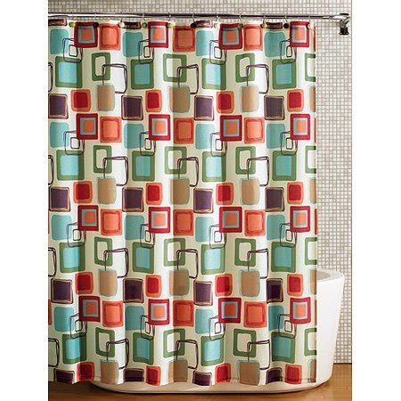 multi colored shower curtain hometrends squares fabric printed shower curtain