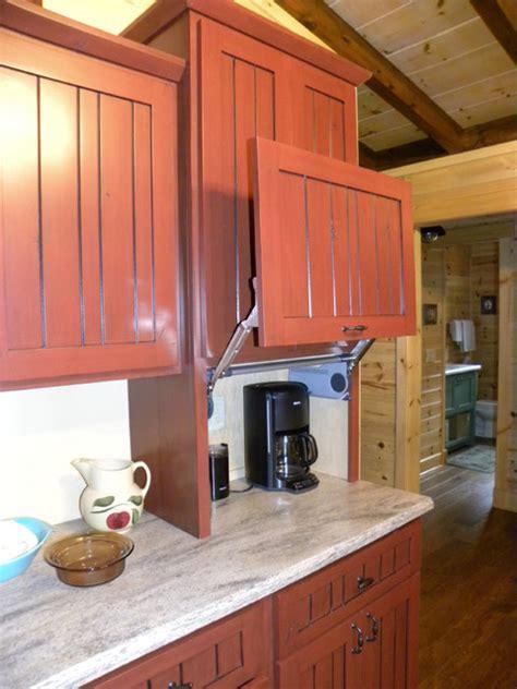kitchen cabinet garage door lift up door on appliance garage farmhouse kitchen