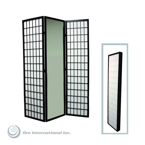 Home Decorators Collection 5 85 Ft Black 3 Panel Room Home Depot Room Dividers