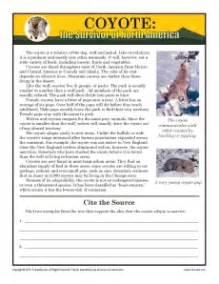 Coyote 7th grade reading comprehension worksheet
