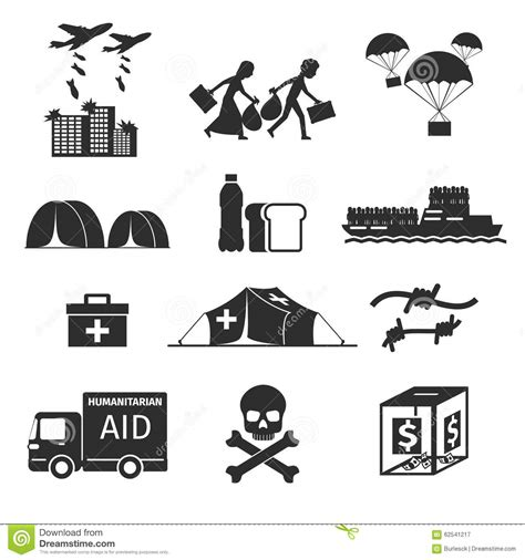 refugee boat clipart refugees evacuee concept war victims black icons stock