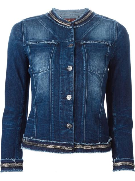 7 Jackets For Your by 7 For All Mankind Embellished Trim Frayed Denim Jacket In