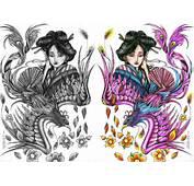 Desenho De Fenix Com Gueixa Colorido Para Tatuagem  Car