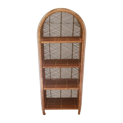 vintage wicker bookcase chairish
