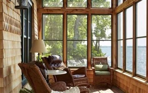 lake house screened  porch   rustic