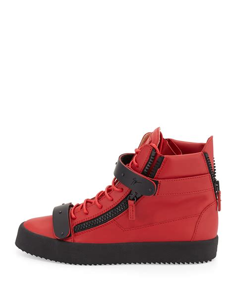 high top mens sneakers giuseppe zanotti mens matte leather high top sneaker in