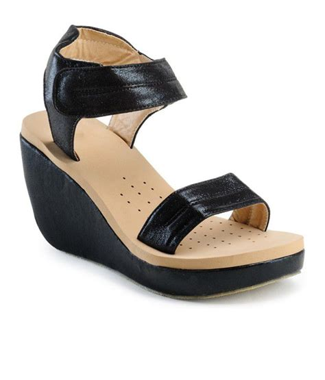 Sandal Wedges C Nel by Nell Black Wedges Sandals Price In India Buy Nell Black